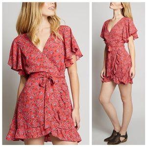 NWT Revolve JACK BB Dakota Red Floral Wrap Dress